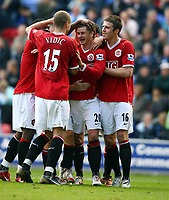 Ole Gunnar Solskjaer Celebrates Scoring 3rd goal with team mates Michael Carrick/Nemanja Vidic and Louis Saha<br />
