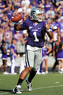 MANHATTAN, KS - OCTOBER 04:  Quarterback Josh Freeman #1 of the Kansas State Wildcats looks down field to make a pass in the third quarter against the Texas Tech Red Raiders on October 4, 2008 at Bill Snyder Family Stadium in Manhattan, Kansas.  Texas Tech won 58-28.