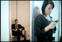 The Prime Minister David Cameron going over his speech in the green room before delivering his speech to the Conservative Party Conference in Manchester, Wednesday October 5, 2011. Photo By Andrew Parsons/i-images
