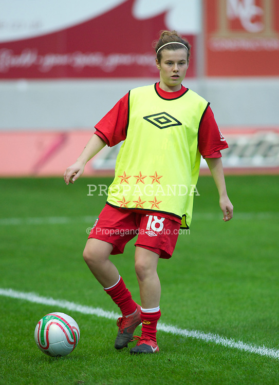 LLANELLI, WALES - Saturday, October 22, 2011: Wales' Hayley Ladd before the UEFA Women's EURO 2013 Qualifying Group 4 match against France at Parc Y Scarlets. (Pic by Gareth Davies/Propaganda)