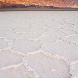Salt flat at sunset in Death Valley National Park, CA.