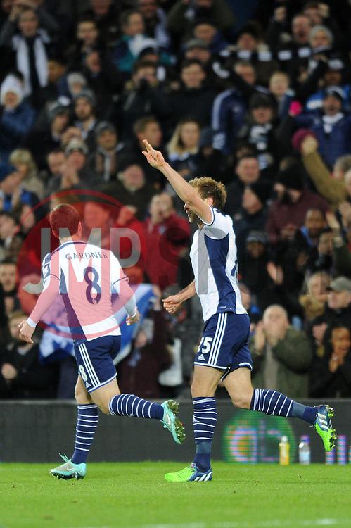 West Bromwich Albion's Craig Dawson celebrates his goal. - Photo mandatory by-line: Dougie Allward/JMP - Mobile: 07966 386802 - 02/12/2014 - SPORT - Football - West Bromwich - The Hawthorns - West Bromwich Albion v West Ham United - Barclays Premier League