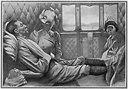 Wounded British officer in railway carriage with his wife and daughter on the last lap of his journey home from South Africa from the 2nd Boer War 1899-1902