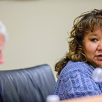 Priscilla Manuelito comments on language and cultural studies during a meeting of the McKinley County Schools Board of Education in Gallup Monday.