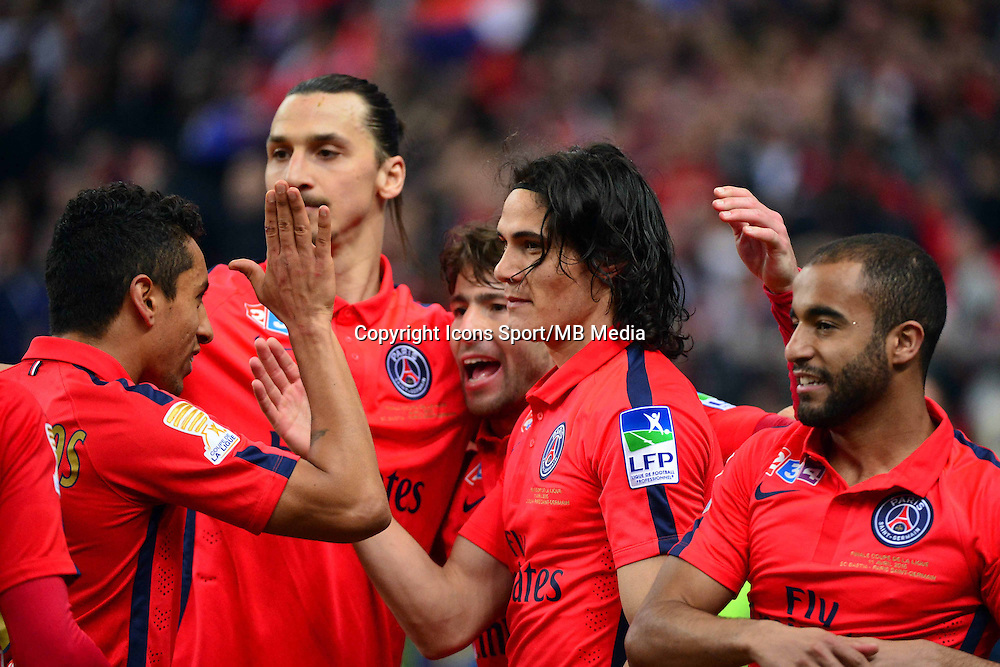 Victoire du PSG /  Edinson CAVANI  / Zlatan IBRAHIMOVIC - 11.04.2015 -  Bastia / PSG - Finale de la Coupe de la Ligue 2015<br />Photo : Dave Winter / Icon Sport