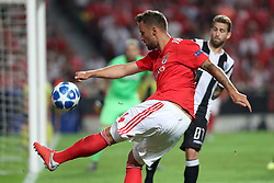 August 21, 2018 - Lisbon, Portugal - Benfica's Suisse forward Haris Seferovic vies with PAOK's midfielder Jose Canas from Spain during the UEFA Champions League play-off first leg match SL Benfica vs PAOK FC at the Luz Stadium in Lisbon, Portugal on August 21, 2018. (Credit Image: © Pedro Fiuza/NurPhoto via ZUMA Press)