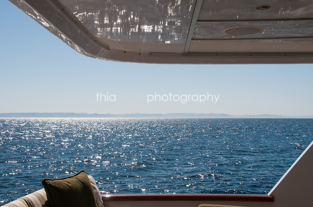 Ocean view from the back deck of a yacht, Sea of Cortez, Mexico