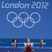 LONDON  OLYMPIC GAMES 2012.. PIC SHOWS  ACTION FROM THE  WEIGHTLIFTING AT THE EXCEL CENTRE AT THE LONDON OLYMPICS..Iulia Paratova   FROM UKRAINE   IN THE WOMENS 53KG CATEGORY.