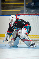 KELOWNA, CANADA - SEPTEMBER 5: Brodan Salmond #31 of the Kelowna Rockets warms up against the Kamloops Blazers on September 5, 2017 at Prospera Place in Kelowna, British Columbia, Canada.  (Photo by Marissa Baecker/Shoot the Breeze)  *** Local Caption ***