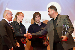 Martin Steiner, Mitja Krevs and Jan Breznik and coach Vladimir Kevo during the Slovenia's Athlete of the year award ceremony by Slovenian Athletics Federation AZS, on November 12, 2008 in Hotel Mons, Ljubljana, Slovenia.(Photo By Vid Ponikvar / Sportida.com) , on November 12, 2010.