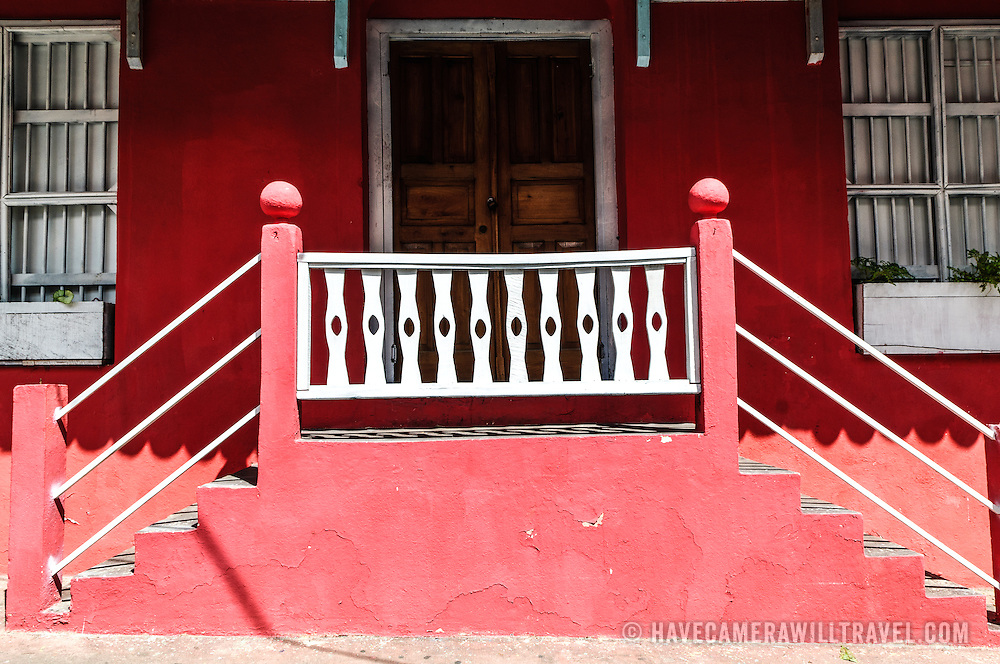 Brighly painted colonial architecture in Flores, Guatemala.
