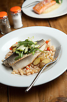 Pan Roasted Trout on a bed of lemon-scented white beans and potatoes at Coastal Bistro in St. Louis.