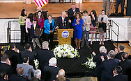 Boston, MA 03/28/2013<br /> Boston Mayor Thomas M. Menino is joined on stage at Faneuil Hall by his family on Thursday at an an event announcing that he will not seek re-election.