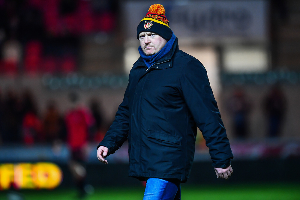Dragons' Head Coach Bernard Jackman during the pre match warm up<br /> <br /> Photographer Craig Thomas/Replay Images<br /> <br /> Guinness PRO14 Round 13 - Scarlets v Dragons - Friday 5th January 2018 - Parc Y Scarlets - Llanelli<br /> <br /> World Copyright © Replay Images . All rights reserved. info@replayimages.co.uk - http://replayimages.co.uk