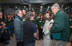 "© Licensed to London News Pictures. 17/12/2015. Wraxall, North Somerset, UK.  The Princess Royal, PRINCESS ANNE, pictured with Anthony Bush the founder of Noah's Ark Zoo Farm, opens 'Elephant Eden' and elephant play zone at Noah's Ark Zoo Farm in Bristol. HRH The Princess Royal officially opened the 20 acre Elephant Eden habitat – the largest of its kind in northern Europe. Described as a ""five star hotel for elephants"" by international elephant management specialist Alan Roocroft, Elephant Eden saw the arrival of its first African elephant in 2014 and has had finishing touches to the complex completed this year along with the arrival of further elephants. Now home to two characterful bull elephants Janu and M'Changa, Elephant Eden has been celebrated as offering welfare improvements to the industry and has been used as a helpful model for other collections to base their own building plans on, including international zoo colleagues from as far afield as Japan.<br />  Noah's Ark will also unveil its new Elephant Play Zone for children next to the elephant barn, which will include an impressive 4m high scale model elephant with built-in slide.<br /> Photo credit : Simon Chapman/LNP"