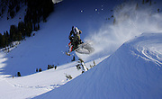 Lincoln W. drops a cornice in the Teton Back country-