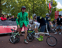 Competitors get ready for the start of The Brompton World Championship. Saturday 28th July 2018<br /> <br /> Photo: Ian Walton for Prudential RideLondon<br /> <br /> Prudential RideLondon is the world's greatest festival of cycling, involving 100,000+ cyclists - from Olympic champions to a free family fun ride - riding in events over closed roads in London and Surrey over the weekend of 28th and 29th July 2018<br /> <br /> See www.PrudentialRideLondon.co.uk for more.<br /> <br /> For further information: media@londonmarathonevents.co.uk