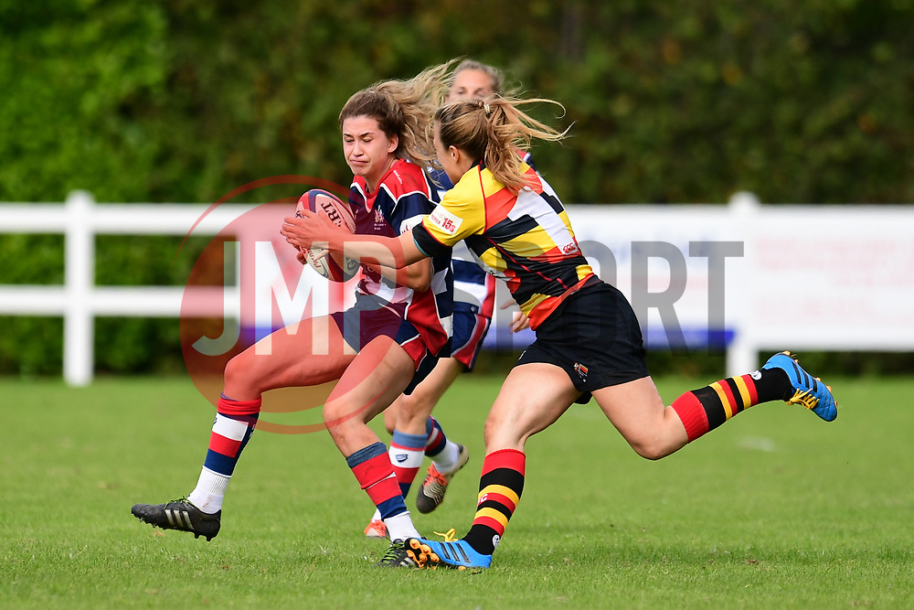 Lillian Stoeger of Bristol Ladies is tackled by Maria Gyolcsos of Richmond ladies - Mandatory by-line: Craig Thomas/JMP - 17/09/2017 - Rugby - Cleve Rugby Ground  - Bristol, England - Bristol Ladies  v Richmond Ladies - Women's Premier 15s
