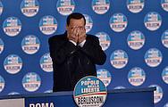Roma 7 Febbraio  2013.Silvio Berlusconi sul palco dell'Auditorium della Conciliazione per la campagna elettorale.  ..Former Italian Prime Minister and leader of PDL center right party,Silvio Berlusconi rallies in Rome during his electoral campaign. Elections are scheduled for 24-25 ferbruary 2103..