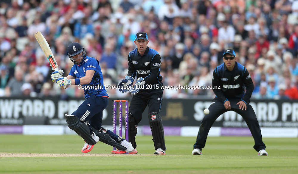 Jos Buttler bats during his century in the first one day international between England and New Zealand at Edgbaston, Birmingham. Photo: Graham Morris / www.photosport.co.nz