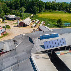 Solar hot water panels on the barn at the Scruton dairy farm in Farmington, New Hampshire.