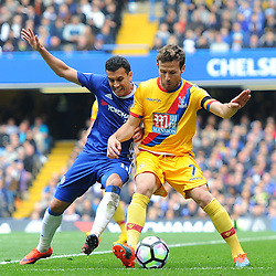 Yohan Cabaye of Crystal Palace and Pedro of Chelsea battle for the ball during Chelsea vs Crystal Palace, Premier League , 01.04.17 (c) Harriet Lander | SportPix.org.uk