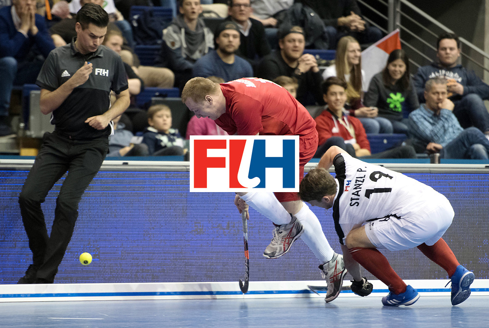 BERLIN - Indoor Hockey World Cup<br /> Quarterfinal 2: Austria - Poland<br /> foto: Krystian Makowski and Patrick Stanzl <br /> WORLDSPORTPICS COPYRIGHT FRANK UIJLENBROEK