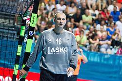 Ivan Gajic #16 of RK Celje Pivovarna Lasko during handball match between RK Celje Pivovarna Lasko vs RK Gorenje Velenje of Super Cup 2015, on August 29, 2015 in SRC Marina, Portoroz / Portorose, Slovenia. Photo by Urban Urbanc / Sportida