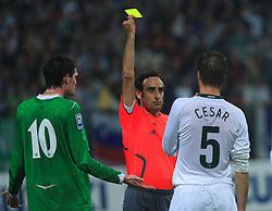 Kyle Lafferty and Bostjan Cesar (5) get yellow card from referee Eduardo Gonzales Iturralde at the fourth round qualification game of 2010 FIFA WORLD CUP SOUTH AFRICA in Group 3 between Slovenia and Northern Ireland at Stadion Ljudski vrt, on October 11, 2008, in Maribor, Slovenia.  (Photo by Vid Ponikvar / Sportal Images)