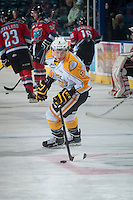 KELOWNA, CANADA - OCTOBER 25: Jayce Hawryluk #8 of Brandon Wheat Kings skates with the puck during warm up against the Kelowna Rockets on October 25, 2014 at Prospera Place in Kelowna, British Columbia, Canada.  (Photo by Marissa Baecker/Getty Images)  *** Local Caption *** Jayce Hawryluk;