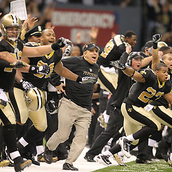 Jan 24, 2010; New Orleans, LA, USA; New Orleans Saints head coach Sean Payton along with players  celebrate following an overtime victory over the Minnesota Vikings in e 2010 NFC Championship game at the Louisiana Superdome. Mandatory Credit: Derick E. Hingle