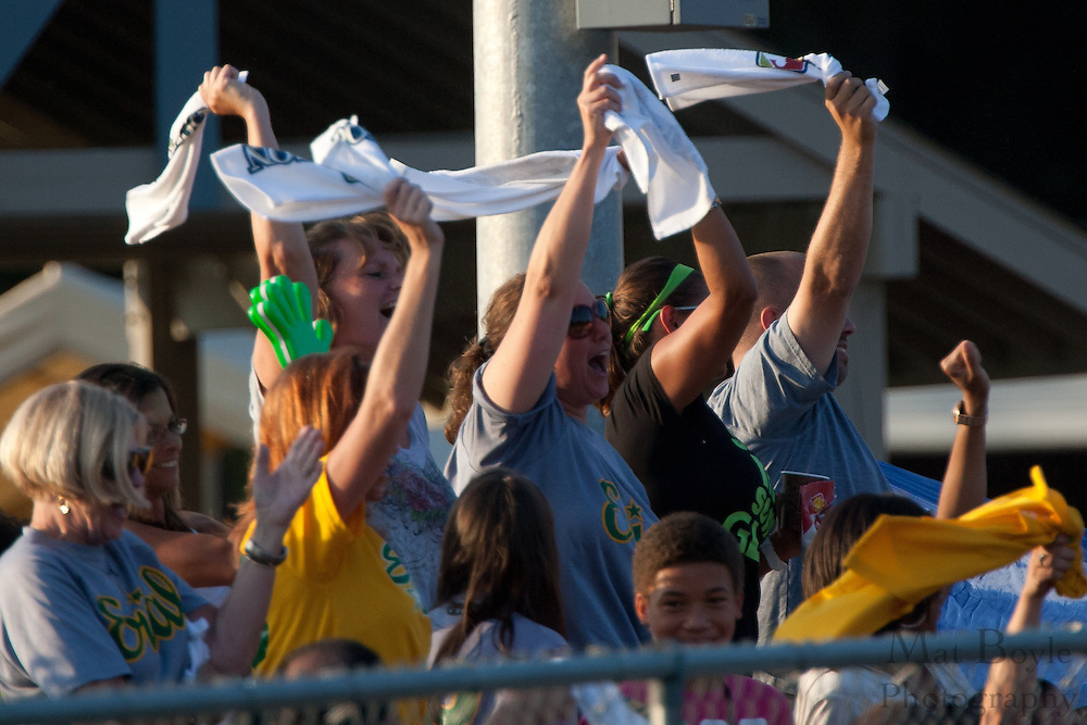 Erial's fans celebrate Jake Vespa 1st inning solo homerun during the Little League State Tournament finals between Paramus and Erial held in Williamstown Tuesday night.