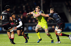 Tom Croft of Leicester Tigers takes on the Saracens defence - Mandatory byline: Patrick Khachfe/JMP - 07966 386802 - 05/02/2017 - RUGBY UNION - Allianz Park - London, England - Saracens v Leicester Tigers - Anglo-Welsh Cup.