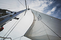 The jib sail on the Grand Illusion II, a Navtours charter sailboat during an excursion in the Exumas, Bahamas.