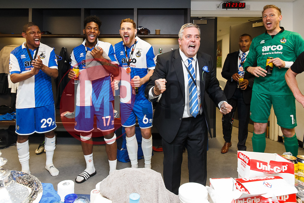 Bristol Rovers Chairman Nick Higgs and the players celebrate in the changing rooms after winning the match on penalties to achieve promotion to the Football League 2 - Photo mandatory by-line: Rogan Thomson/JMP - 07966 386802 - 17/05/2015 - SPORT - FOOTBALL - London, England - Wembley Stadium - Bristol Rovers v Frimsby Town - Vanarama Conference Premier Play-off Final.