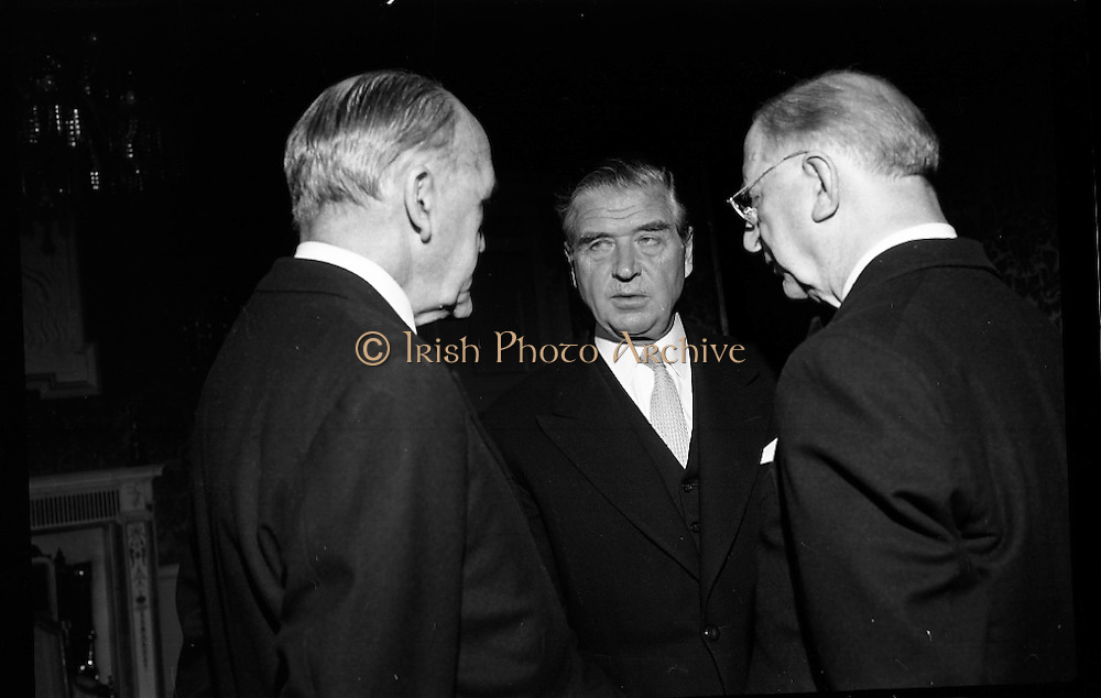 07/06/1967<br /> 06/07/1967<br /> 07 June 1967<br /> New Swedish Ambassador to Ireland presents his credentials To President Eamon de Valera at Aras an Uachtarain. Picture shows His Excellency Bjorn Eyvind Bratt, (centre) chatting with President de Valera (right) and Mr. Frank Aiken, Minister for External Affairs after the ceremony.