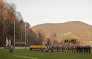 West Point, NY - Army and Navy players stand with their hands on their hearts while the National Anthem plays before their rugby match at the Anderson Rugby Center at the United States Military Academy on  Nov. 21, 2009. ©Tom Bushey / The Image Works