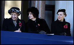 LTOR  Former Prime Major John Major's wife Norma Major, Former Prime Minister Tony Blair's wife Cherie Blair (middle) and Ed Miliband's wife Justine Thornton,  smile as they watch the annual Remembrance Sunday Service at the Cenotaph, Whitehall, London, England. Sunday, 10th November 2013. Picture by Andrew Parsons / i-Images