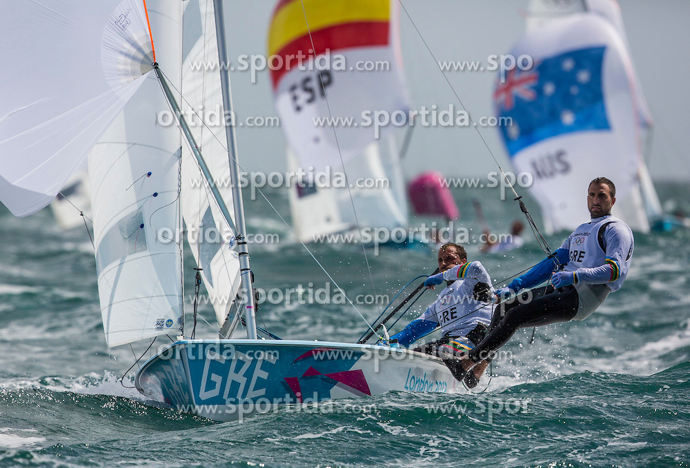 02.08.2012, Bucht von Weymouth, GBR, Olympia 2012, Segeln, im Bild Kambouridis Panagiotis, Papadopoulos Efstathios, (GRE, 470 Men) // during Sailing, at the 2012 Summer Olympics at Bay of Weymouth, United Kingdom on 2012/08/02. EXPA Pictures © 2012, PhotoCredit: EXPA/ Daniel Forster ***** ATTENTION for AUT, CRO, GER, FIN, NOR, NED, POL, SLO and SWE ONLY!