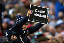 A Bath Rugby fan in the crowd shows his support - Mandatory byline: Patrick Khachfe/JMP - 07966 386802 - 30/12/2018 - RUGBY UNION - The Recreation Ground - London, England - Bath Rugby v Leicester Tigers - Gallagher Premiership Rugby