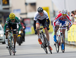 16.04.2013, Hauptplatz, Lienz, AUT, Giro del Trentino, Etappe 1, Lienz nach Lienz, im Bild Moyano Enzo (Caja Rural - Seguros Rga, 5. Platz), Nicola dal Santo (Ceramica Flaminia - Fondriest, 4. Platz), Pavel Kochetkov (Rus Velo, 6. Platz) // during stage 1, Lienz to Lienz of the Giro del Trentino at the Hauptplatz, Lienz, Austria on 2013/04/16. EXPA Pictures © 2013, PhotoCredit: EXPA/ Johann Groder