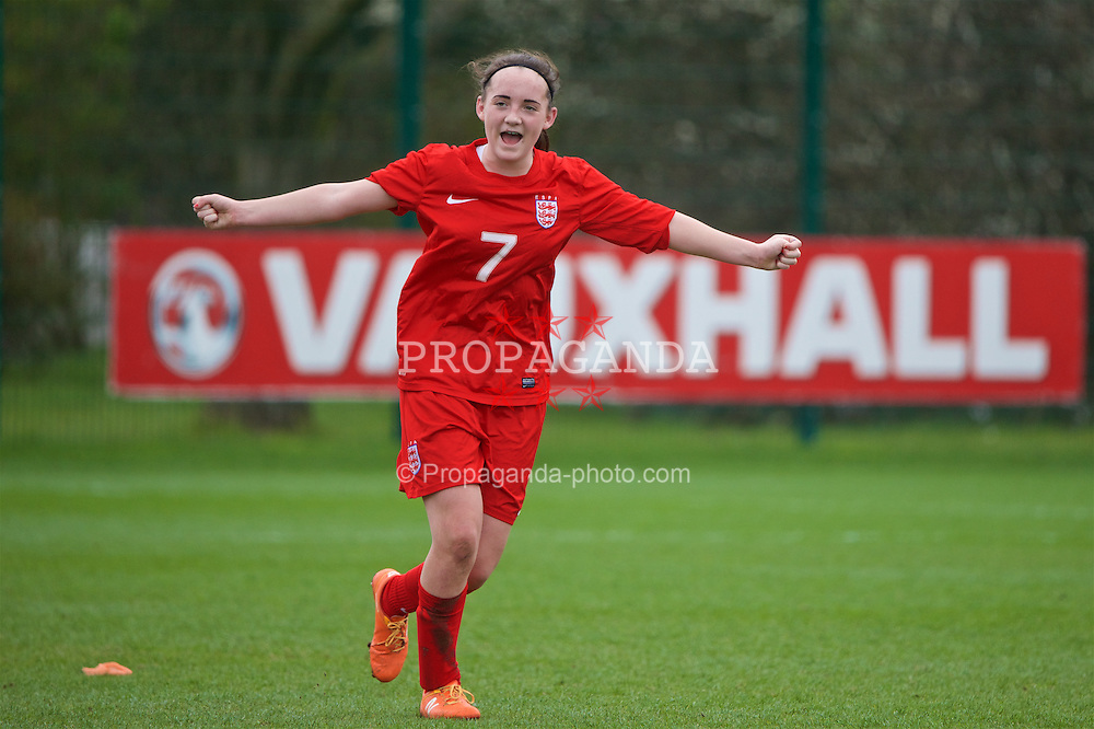 NEWPORT, WALES - Monday, April 4, 2016: England's goal-scorer Holly Manders celebrates after the 1-0 victory over Republic of Ireland during the Final on day four of the Bob Docherty International Tournament 2016 at Dragon Park. (Pic by David Rawcliffe/Propaganda)