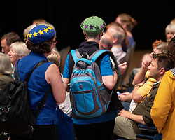 © Licensed to London News Pictures . 15/09/2019. Bournemouth, UK. Audience members wearing EU berets listen as party leader Jo Swinson hosts a Q&A session . The Liberal Democrat Party Conference at the Bournemouth International Centre . Photo credit: Joel Goodman/LNP