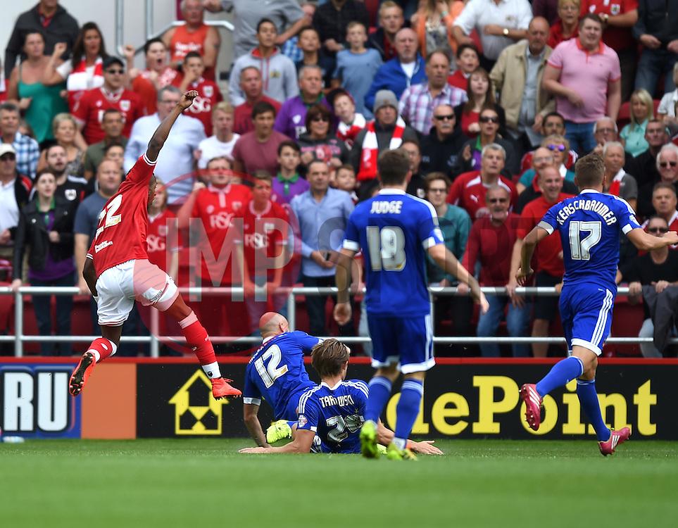 Jonathan Kodjia of Bristol City scores the opening goal against Brentford - Mandatory by-line: Paul Knight/JMP - Mobile: 07966 386802 - 15/08/2015 -  FOOTBALL - Ashton Gate Stadium - Bristol, England -  Bristol City v Brentford - Sky Bet Championship