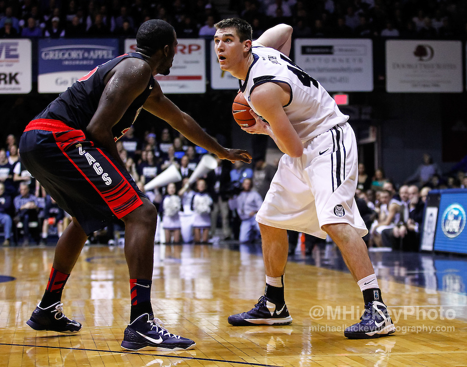 INDIANAPOLIS, IN - JANUARY 19: Andrew Smith #44 of the Butler Bulldogs holds the ball against Sam Dower #35 of the Gonzaga Bulldogs at Hinkle Fieldhouse on January 19, 2013 in Indianapolis, Indiana. Butler defeated Gonzaga 64-63. (Photo by Michael Hickey/Getty Images) *** Local Caption *** Andrew Smith; Sam Dower
