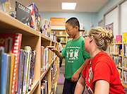 The opening of a new library donated by Target at White Elementary School, October 18, 2013.
