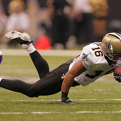 2008 October, 06: New Orleans Saints wide receiver Lance Moore (16) dives for extra yardage after making a catch during the first half of a week five regular season game between the Minnesota Vikings and the New Orleans Saints for Monday Night Football at the Louisiana Superdome in New Orleans, LA.