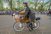 Arriving for the lunch break at Hyde Park - The Tweed Run, a very British public bicycle ride through London's streets, with a prerequisite that participants are dressed in their best tweed cycling attire. Now in it's 8th year the ride follows a circular route from Clerkenwell via the Albert Memorial, Buckinham Palace and Westminster.
