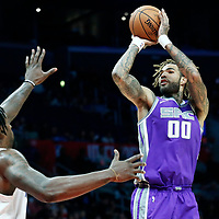 12 October 2017: Sacramento Kings center Willie Cauley-Stein (00) takes a jump shot over LA Clippers center DeAndre Jordan (6) during the LA Clippers 104-87 victory over the Sacramento Kings, at the Staples Center, Los Angeles, California, USA.