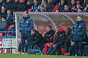 York City Manager Jackie McNamara  during the Sky Bet League 2 match between York City and Plymouth Argyle at Bootham Crescent, York, England on 14 November 2015. Photo by Simon Davies.